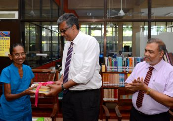 Book donation to library in memory of late Mr. K.D.K. Dharmawardena